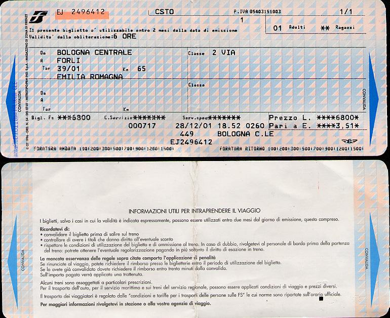 Bologna-Forlì ticket