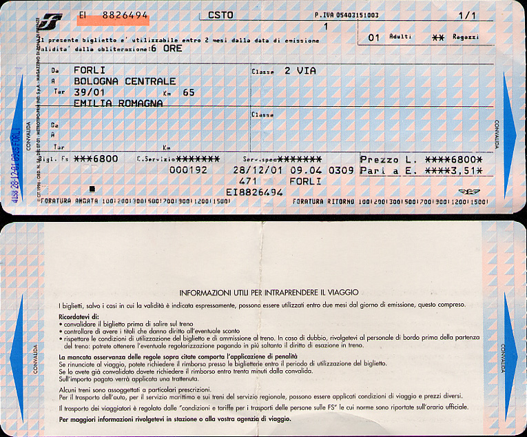 Forlì-Bologna train ticket at a cost of 6800 L