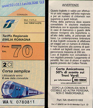 Regional train ticket for train in Emilia-Romagna