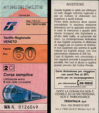 Regional ticket for the Veneto