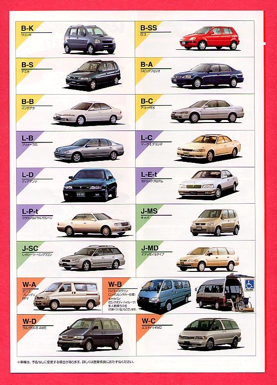 Car models in rental brochure