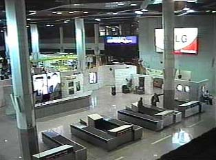 Customs counters inside airport