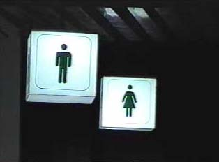 Signs for men's and women's restrooms