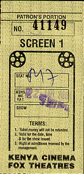 Back of theatre ticket