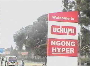 Road sign for the 'Uchumi' supermarket