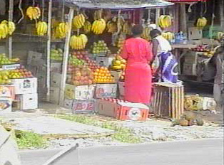 Road side grocery stall, a common site in Kenya