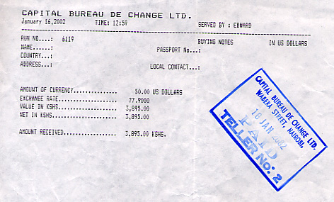 Receipt for a currency exchange