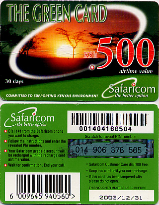 Safaricom prepaid card for mobile or cell phones