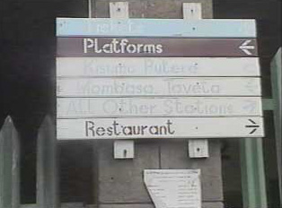 Signboard at railway station