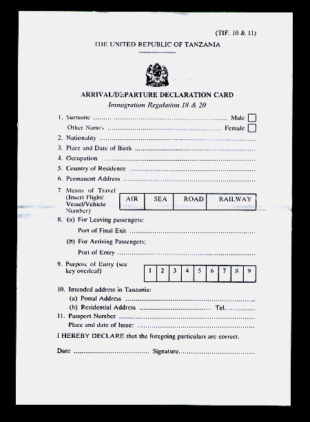 Customs declaration form