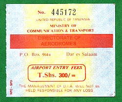 Airport parking fee receipt