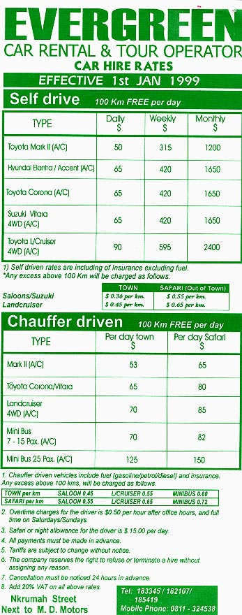 Brochure with rates