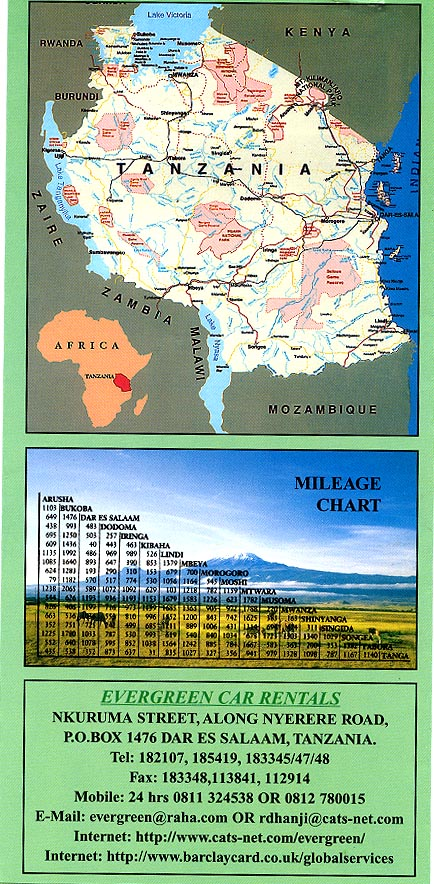 Brochure with map and distance chart