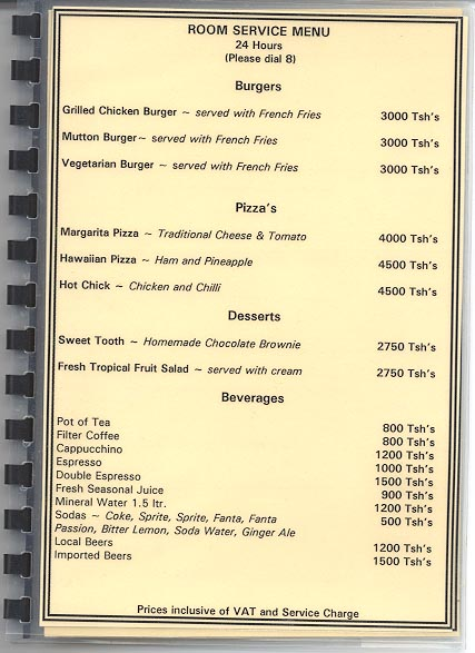 Hotel room service menu page 2