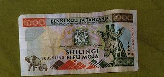 1000 Shilling bill front