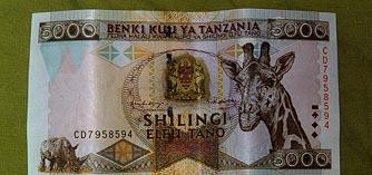 5000 Shilling bill front