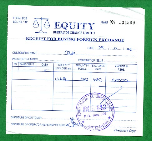 Money exchange receipt