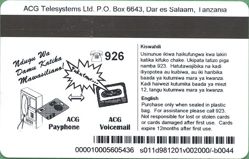 Enlargement of the back of an ACG Telesystems phone card