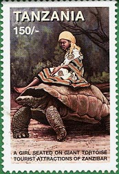 Stamp worth 150 shillings showing a giant tortoise of Zanzibar