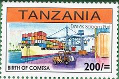 Stamp worth 200 Shillings showing Dar Es Salaam Port