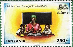 Stamp worth 250 Shillings promoting children's right to education