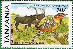 Stamp worth 30 shillings honoring Mikumi National Park