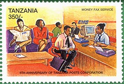 Stamp worth 350 Shillings honoring the Tanzanian Posts Corporation