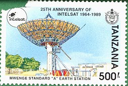 Stamp worth 500 Shillings honoring 25th anniversary of Intelsat