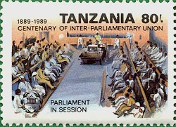 Stamp worth 80 shillings honoring the Tanzanian Parliament