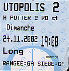 Front of ticket from the largest movie theater in Luxembourg