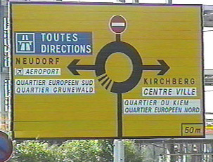 Sign indicating directions on a rotary