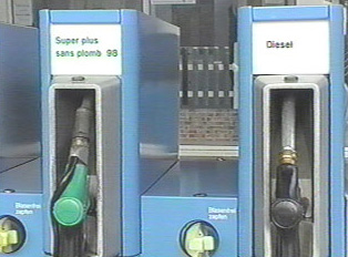 Close-up of gas pumps