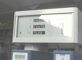 Close-up of gas display