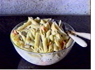 Pasta salad, usually served during the summer