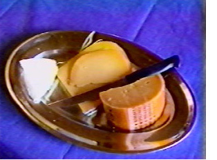 Plate with various European cheeses