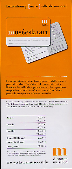 Brochure offering information on yearly passes for national museums