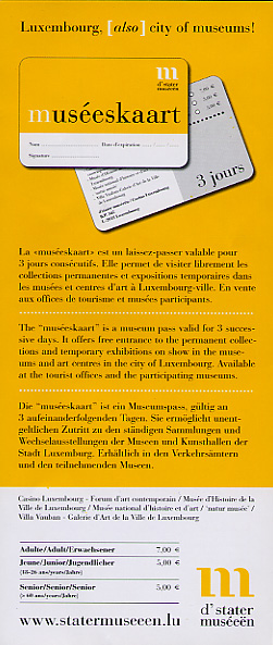 Brochure offering information in three languages about 3-day passes for national museums