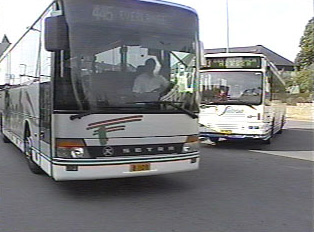 Bus leaving bus station