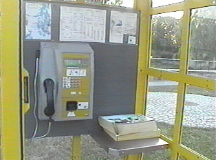 Yellow public phone