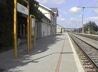 Rail platform at rural train station