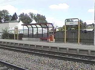 Opposite rail platform at rural train station