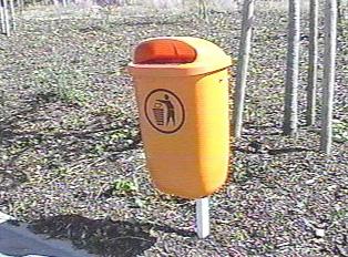 Orange trash bin