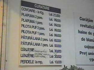 Sign with prices for dry cleaning