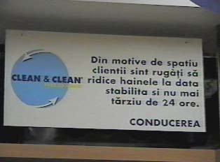 Sign inside dry cleaner
