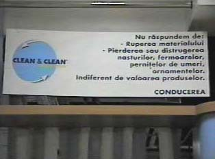 Sign inside dry cleaner's