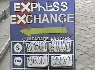 Exchange rate sign outside of exchange office