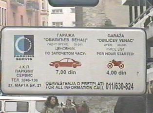 Parking garage information sign