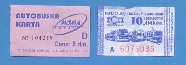 Local transportation tickets