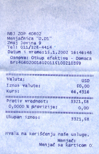 Receipt for an exchange transaction