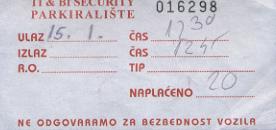 Parking lot ticket